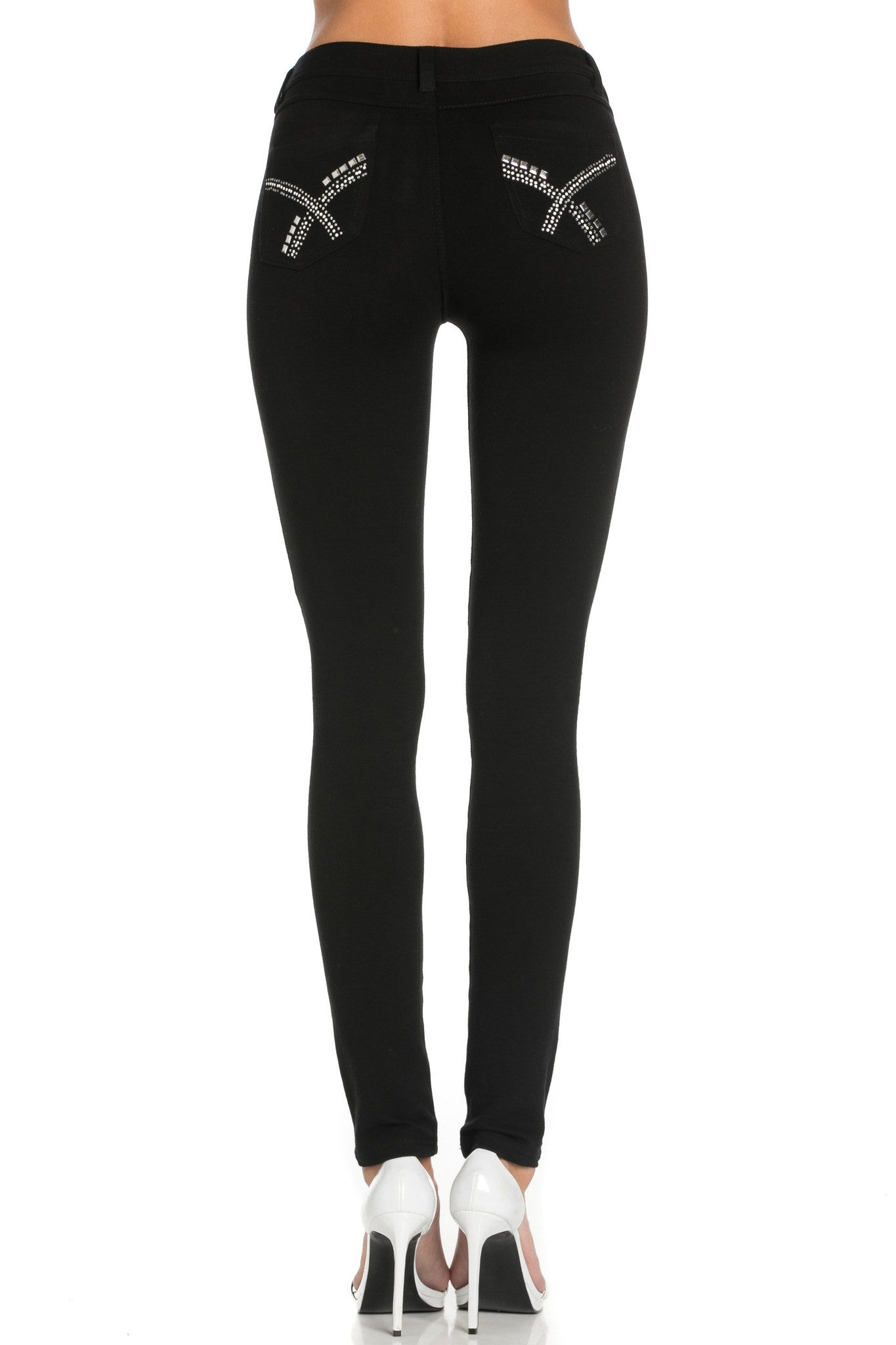 Embellished Stretch Skinny Knit Jegging Pants (X) - Poplooks