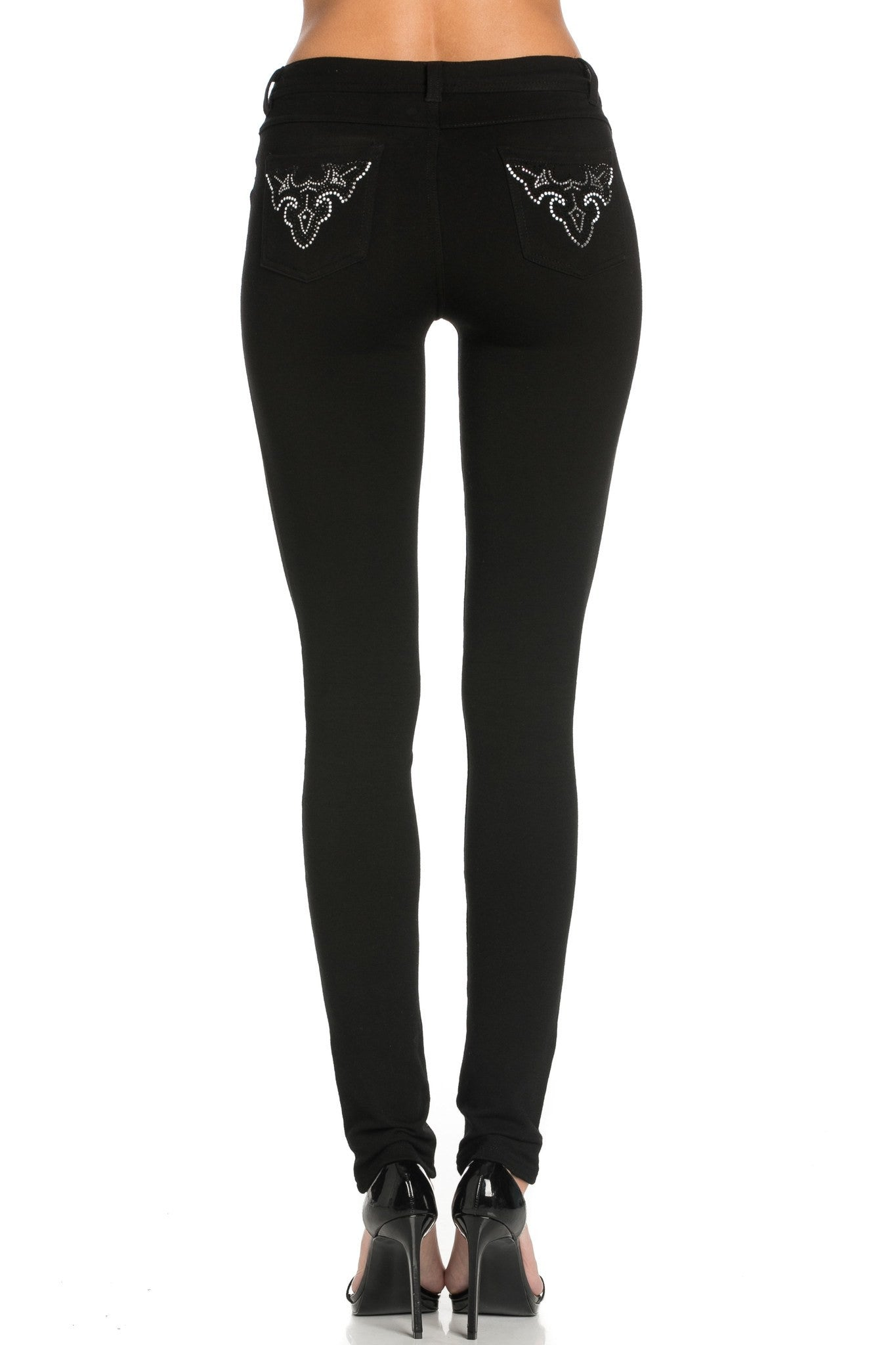 Embellished Stretch Skinny Knit Jegging Pants (Triple Lily) - Poplooks