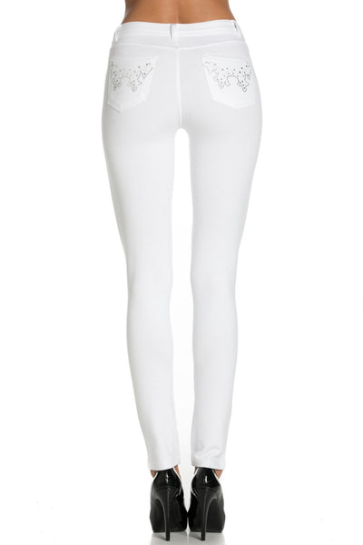Embellished Stretch Skinny Knit Jegging Pants (Butterfly) - Poplooks