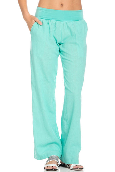Comfy Fold Over Linen Pants (Mint) - Poplooks