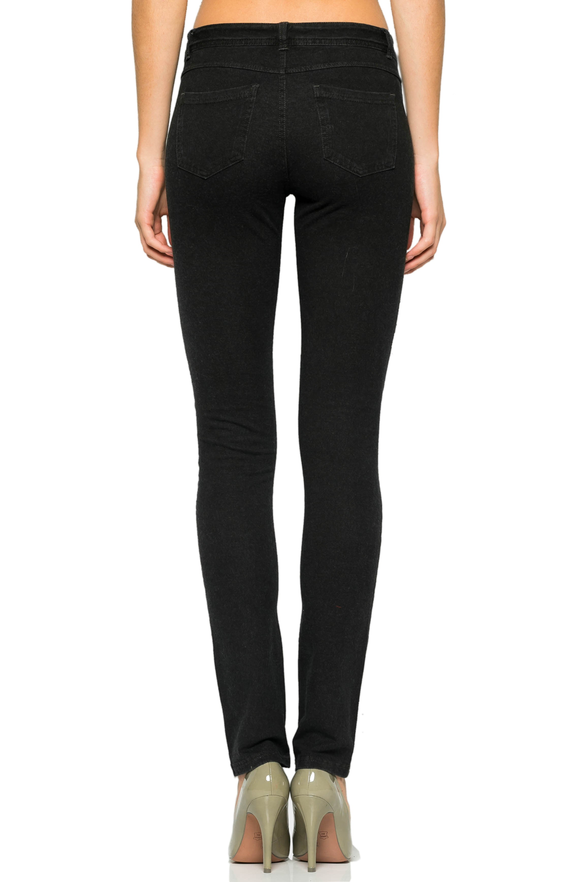 Mid-Rise Knit Skinny Pants (Washed Charcoal) - Poplooks