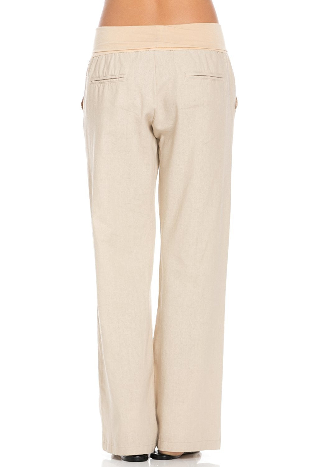 Comfy Fold Over Linen Pants (Natural) - Poplooks