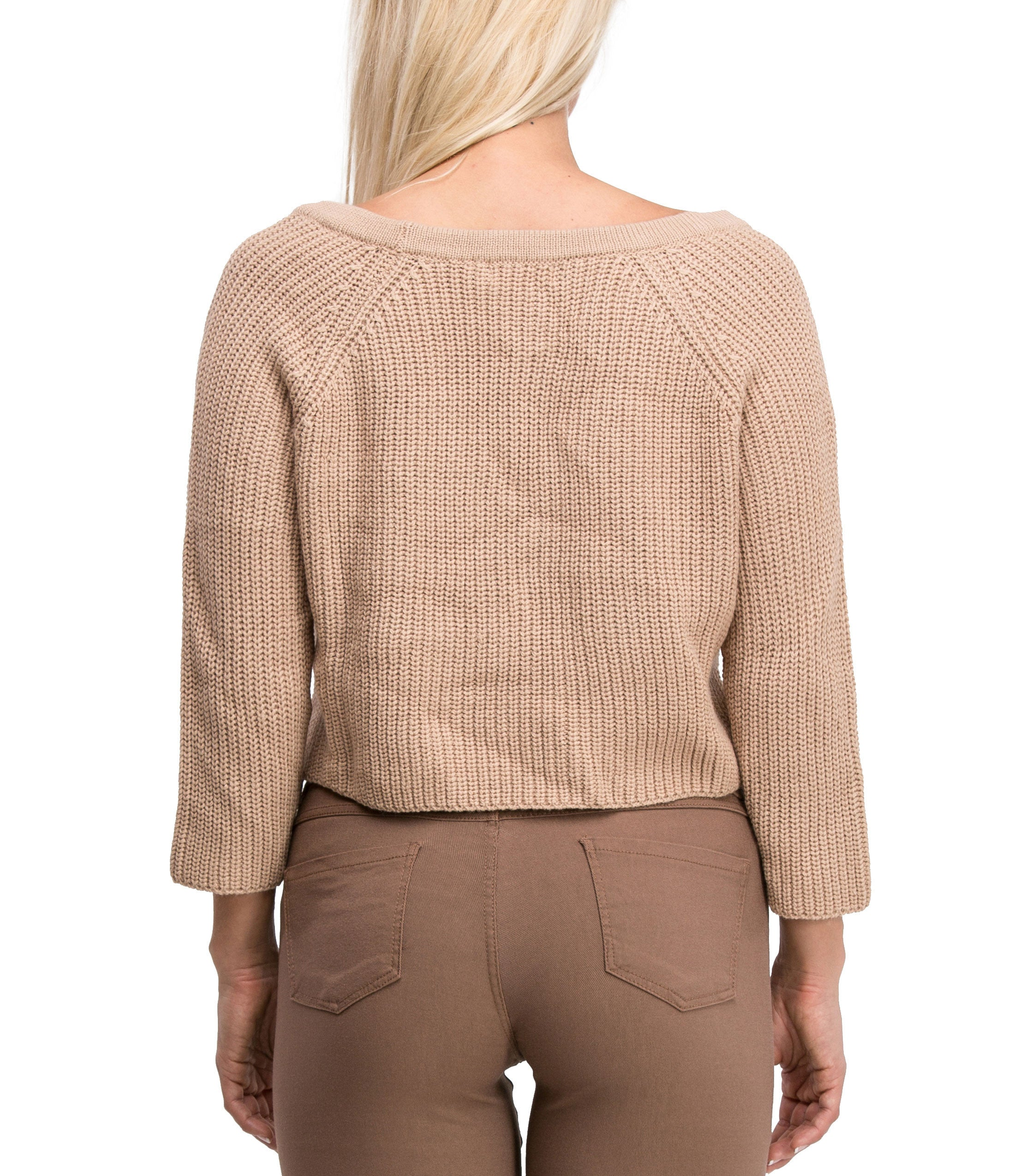 Irresistible Sexy Medium Sleeve Lace Up Crop Top Sweater (Beige) - Poplooks