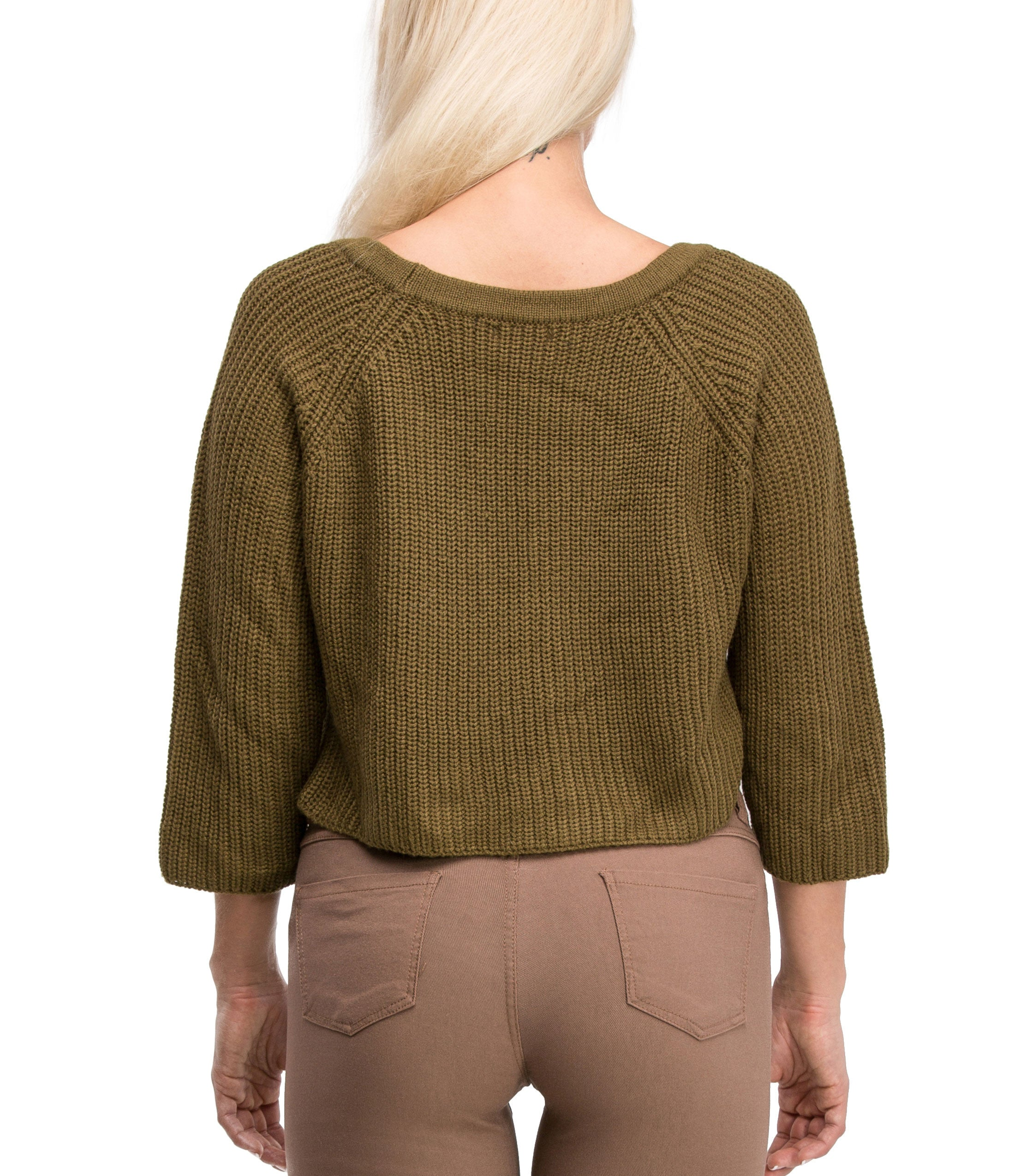 Irresistible Sexy Medium Sleeve Lace Up Crop Top Sweater (Olive) - Poplooks