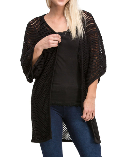 Kimono Style Medium Sleeve Mesh Knit Cardigan Sweater (Black)
