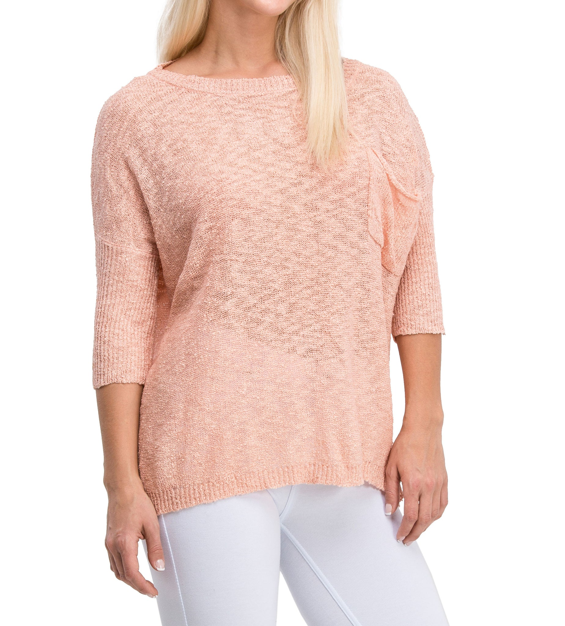 Comfy Casual Elegant Lightweight Sweater Dress (Pink)