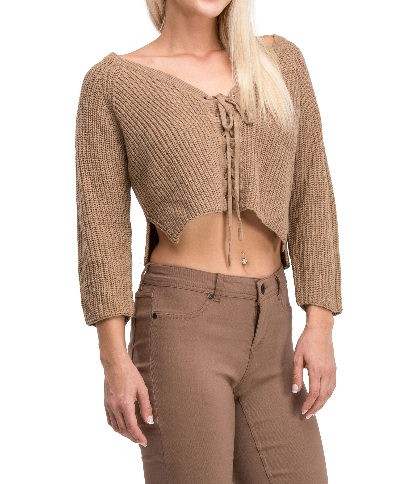 Irresistible Sexy Medium Sleeve Lace Up Crop Top Sweater (Mocha) - Poplooks