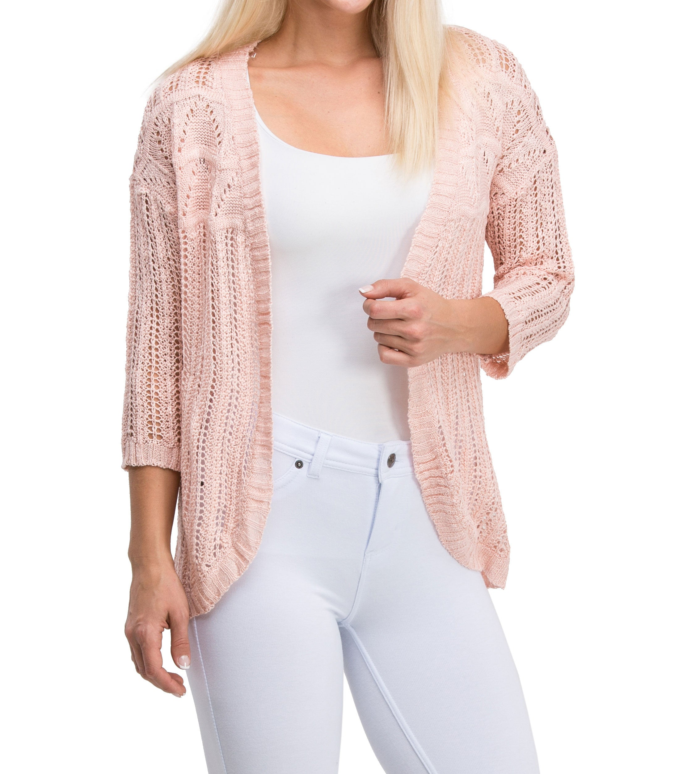 Casual Elegant Long Sleeve Mesh Knit Cardigan (Light Pink) - Poplooks