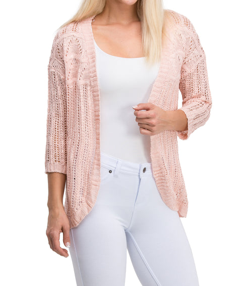 Casual Elegant Long Sleeve Mesh Knit Cardigan (Light Pink)