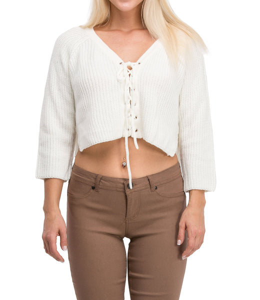 Irresistible Sexy Medium Sleeve Lace Up Crop Top Sweater (Ivory) - Poplooks