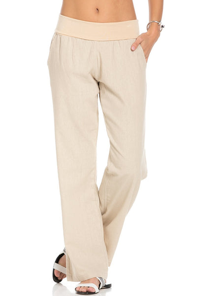 Comfy Fold Over Linen Pants (Natural)