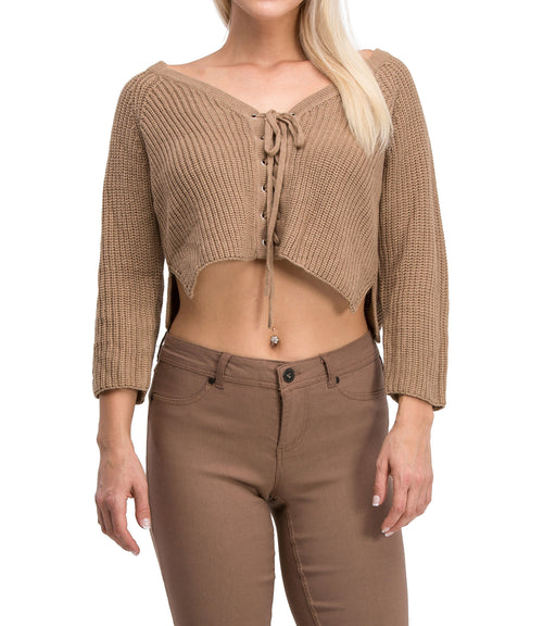 Irresistible Sexy Medium Sleeve Lace Up Crop Top Sweater (Mocha)
