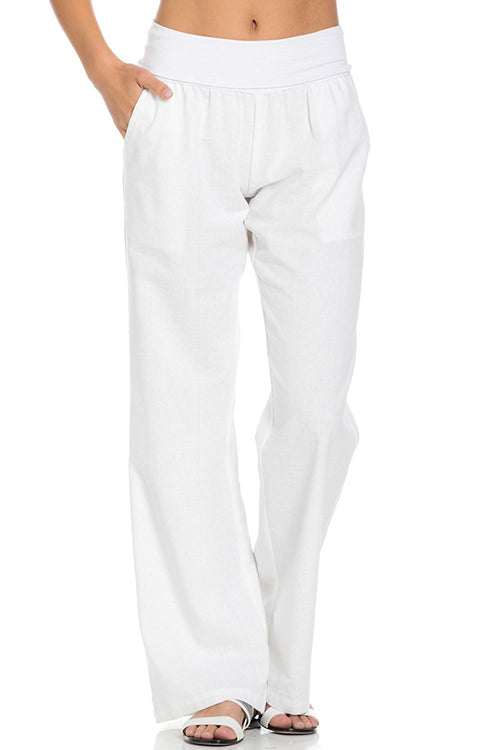 Comfy Fold Over Linen Pants (White)
