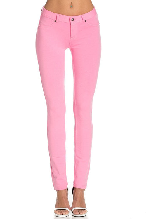 Stretch Skinny Knit Jegging Pants (Pink)