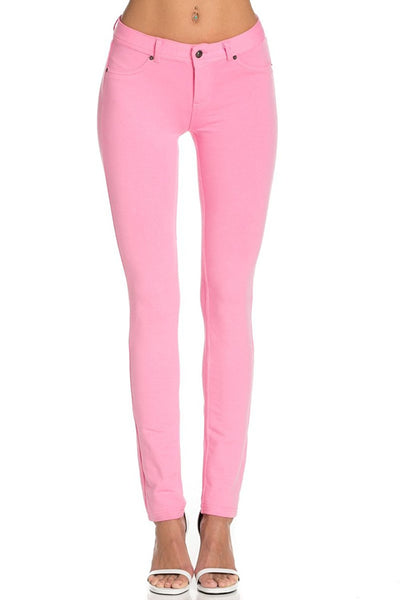 Stretch Skinny Knit Jegging Pants (Pink) - Poplooks