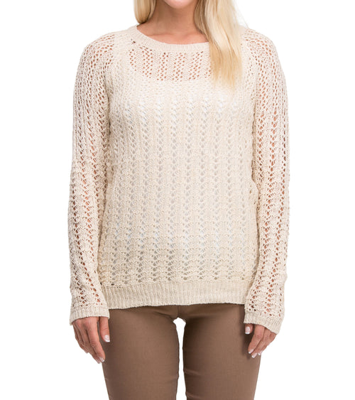 Casual Modern Long Sleeve Mesh Knit Crew Neck Sweater (Taupe)