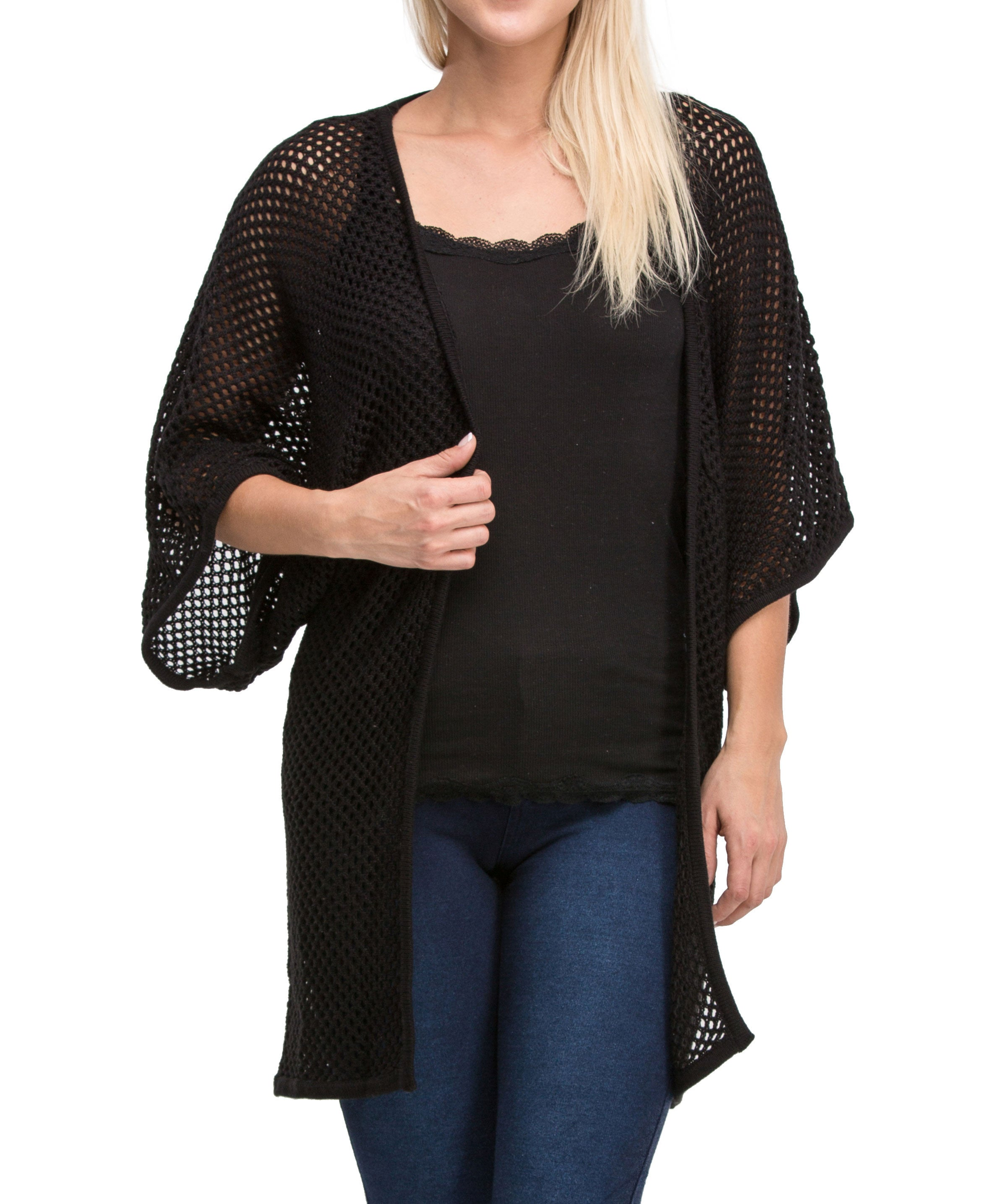Kimono Style Medium Sleeve Mesh Knit Cardigan Sweater (Black) - Poplooks