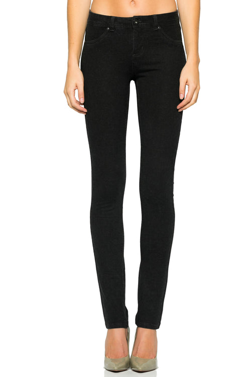 Mid-Rise Knit Skinny Pants (Washed Charcoal)