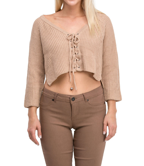 Irresistible Sexy Medium Sleeve Lace Up Crop Top Sweater (Beige)
