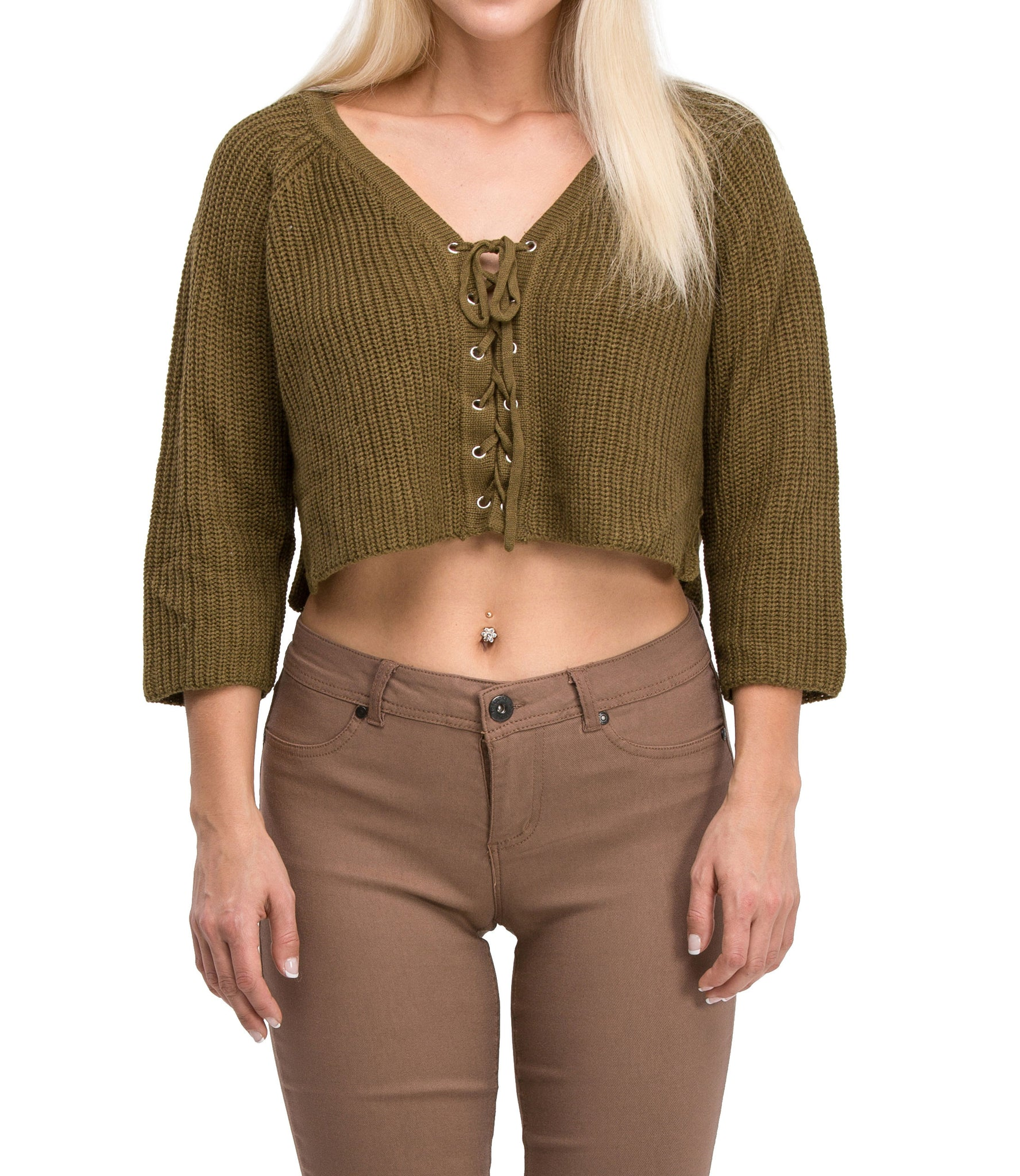 Irresistible Sexy Medium Sleeve Lace Up Crop Top Sweater (Olive)