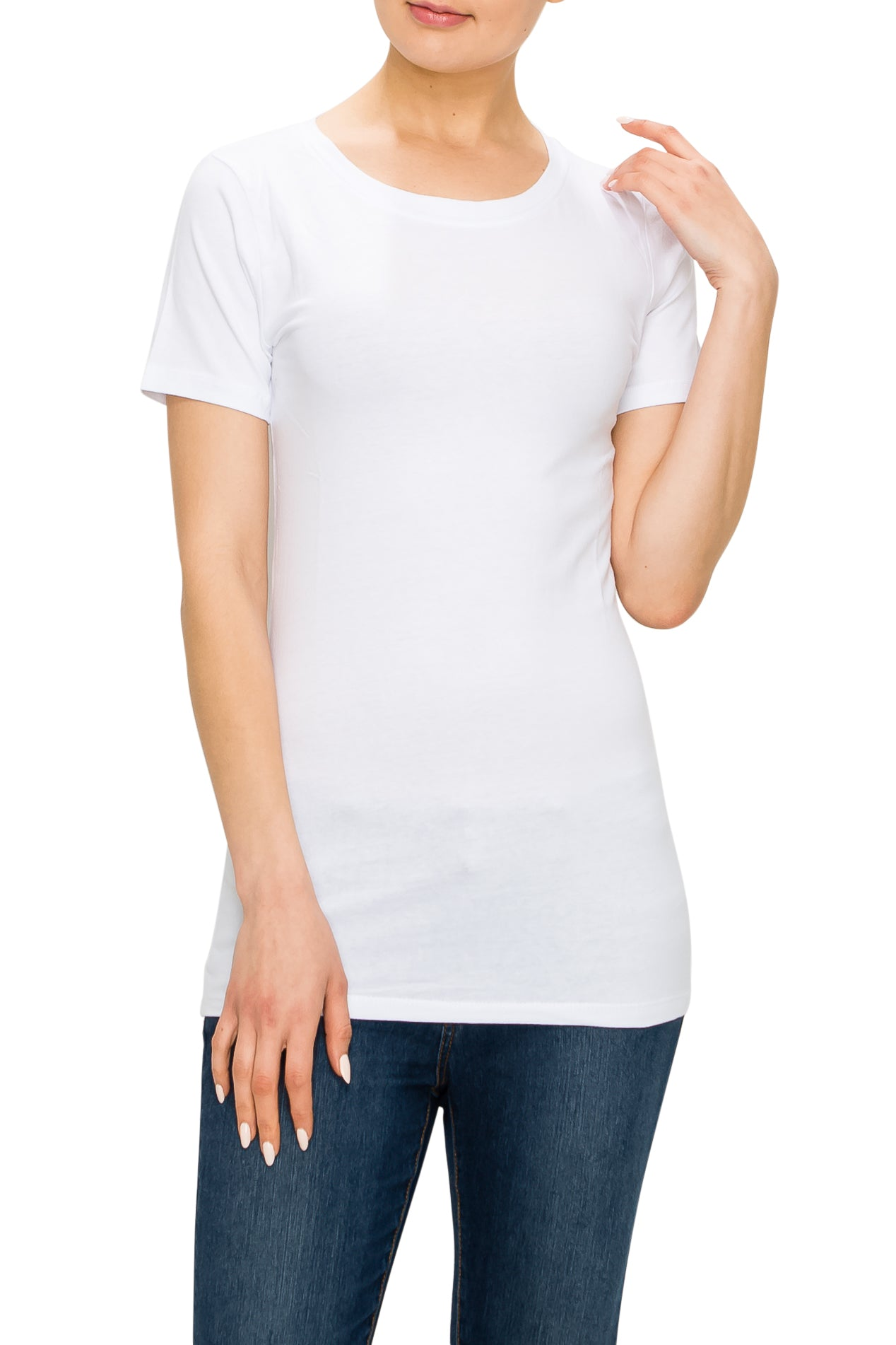 Round Neck Short Sleeve T-Shirt - Poplooks