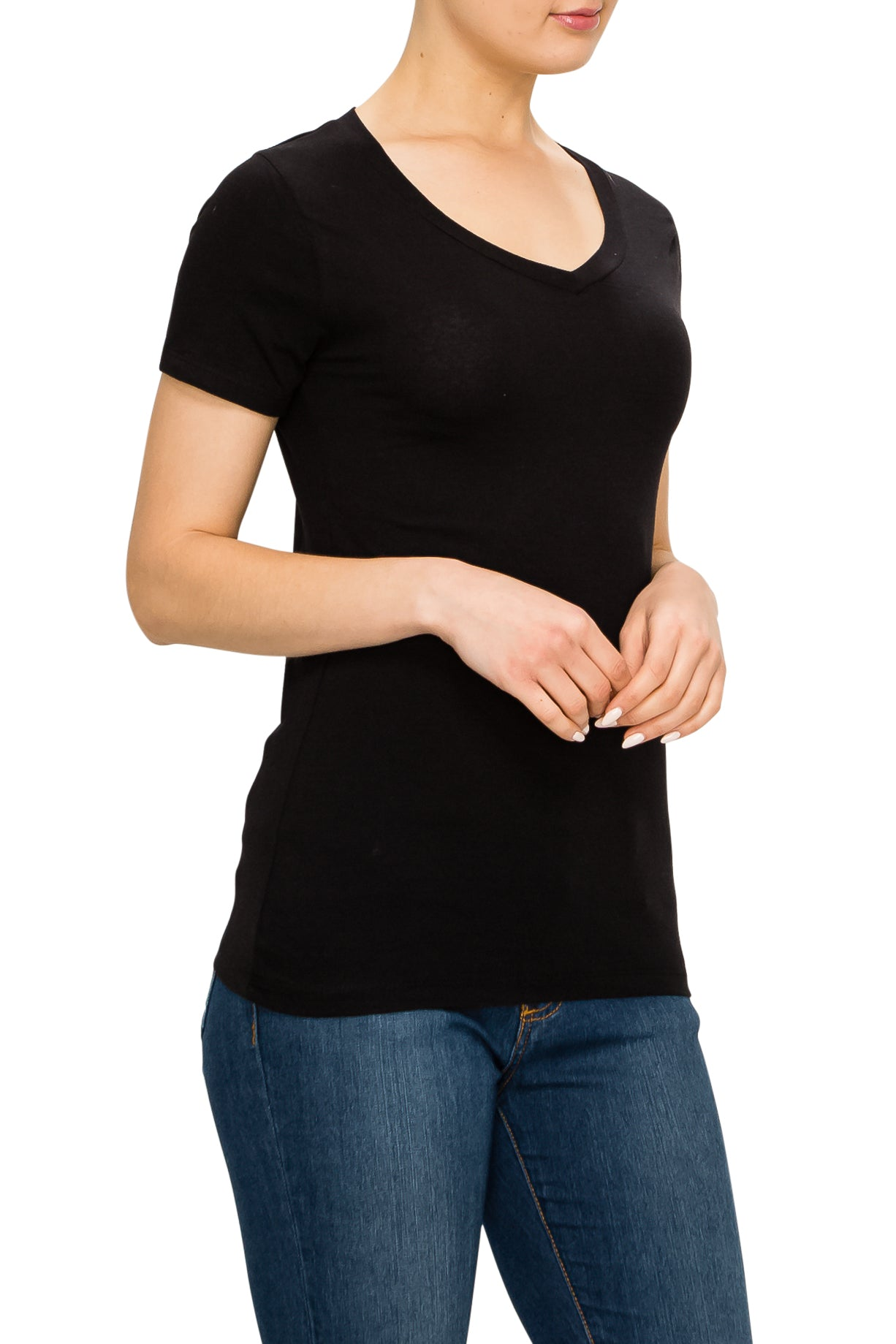 V-Neck Short Sleeve T-Shirt - Poplooks