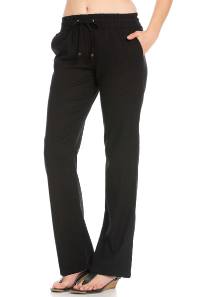 Black Linen Trousers w/ Draw String - Poplooks