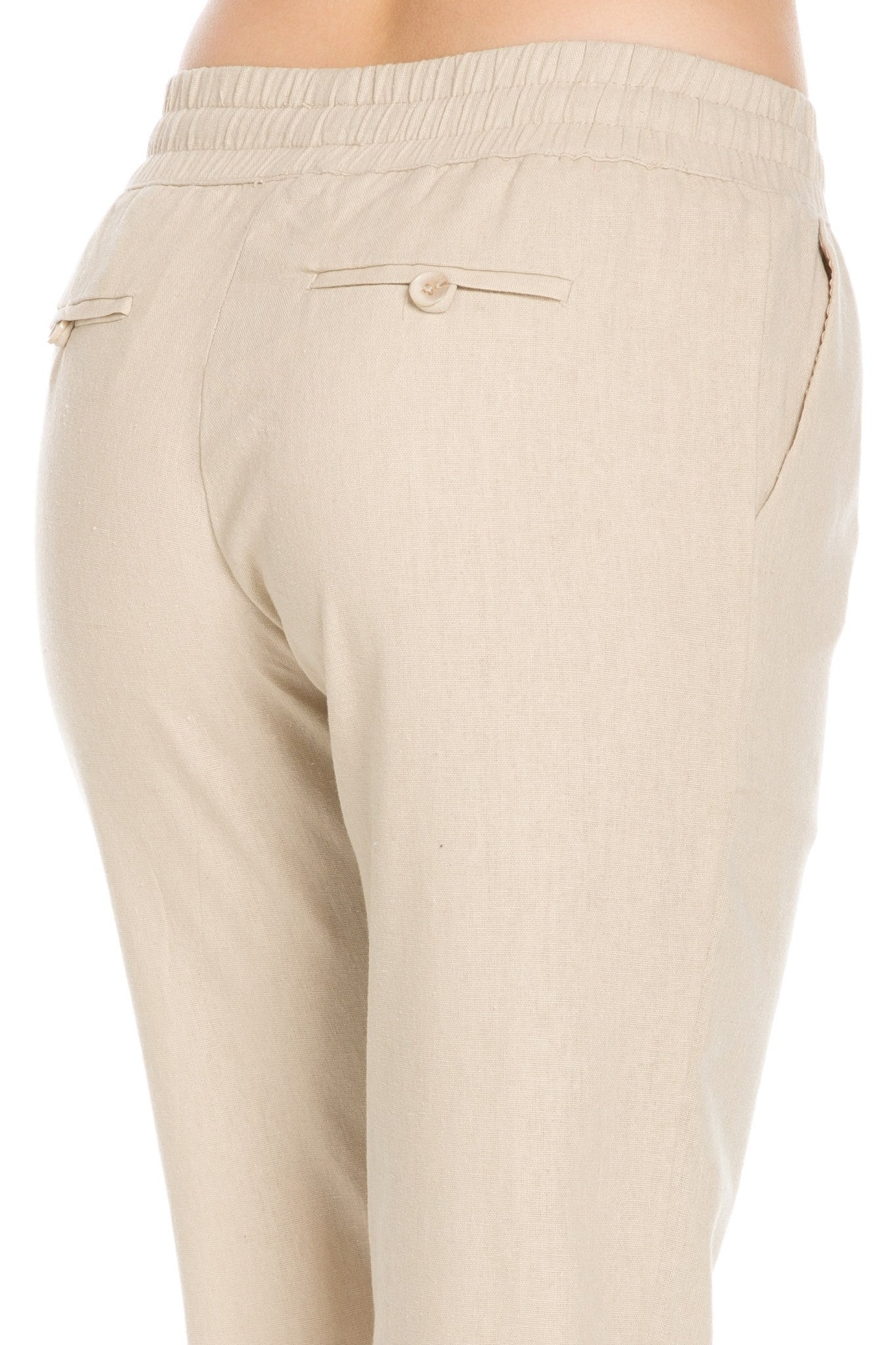 Comfy Drawstring Linen Pants Long with Band Waist (Natural) - Poplooks
