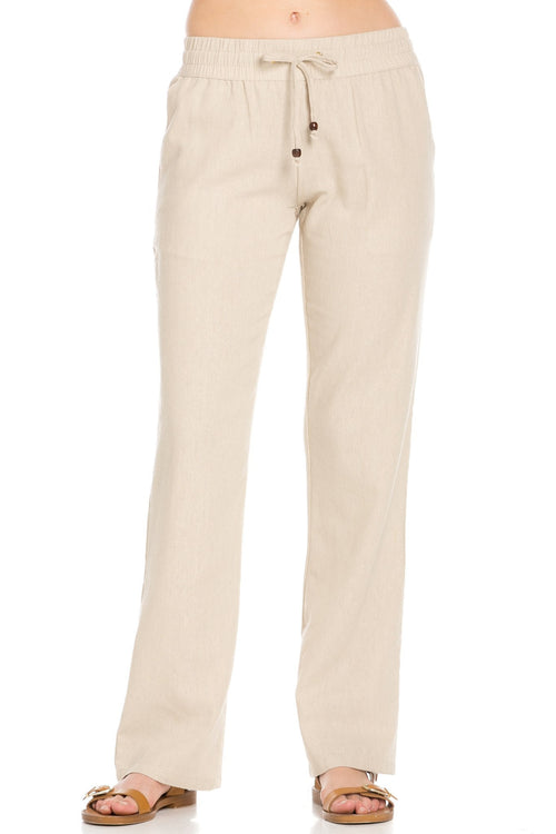 Comfy Drawstring Linen Pants Long with Band Waist (Natural)