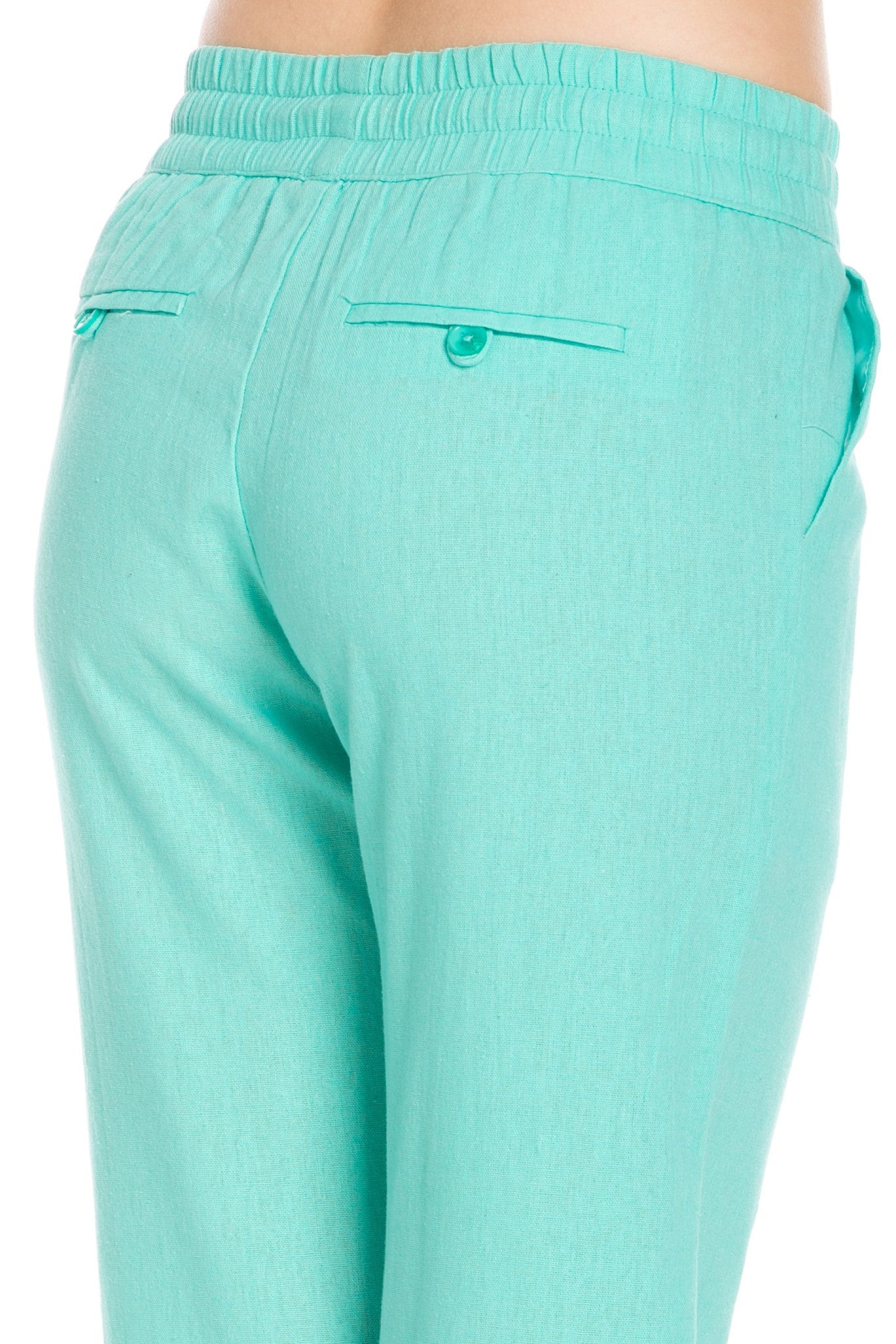 Comfy Drawstring Linen Pants Long with Band Waist (Mint) - Poplooks