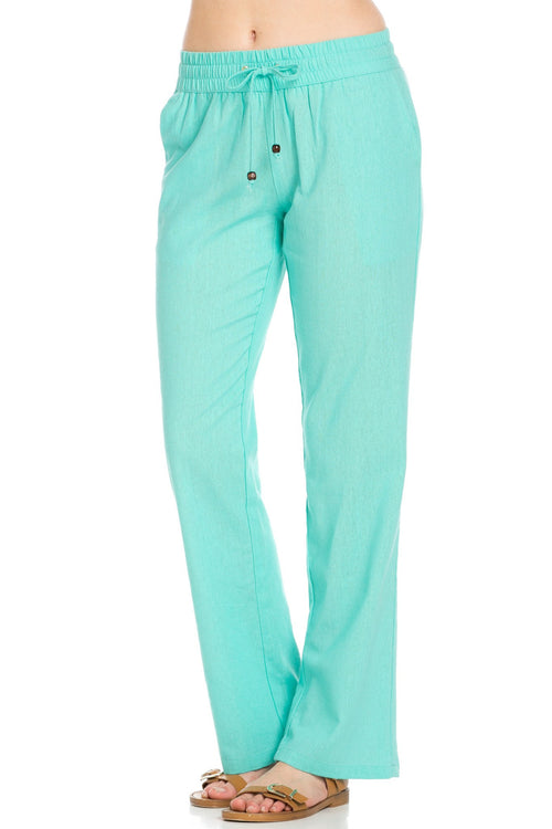Comfy Drawstring Linen Pants Long with Band Waist (Mint)