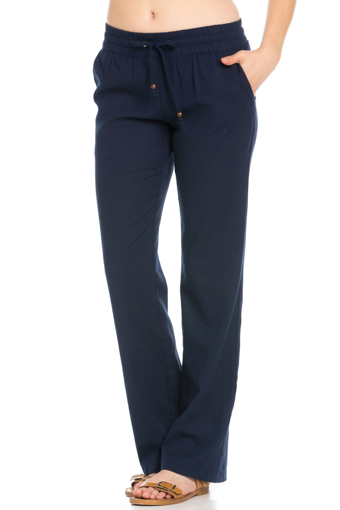 Comfy Drawstring Linen Pants Long with Band Waist (Navy) - Poplooks