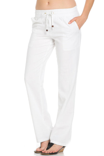 Comfy Drawstring Linen Pants Long with Band Waist (White) - Poplooks