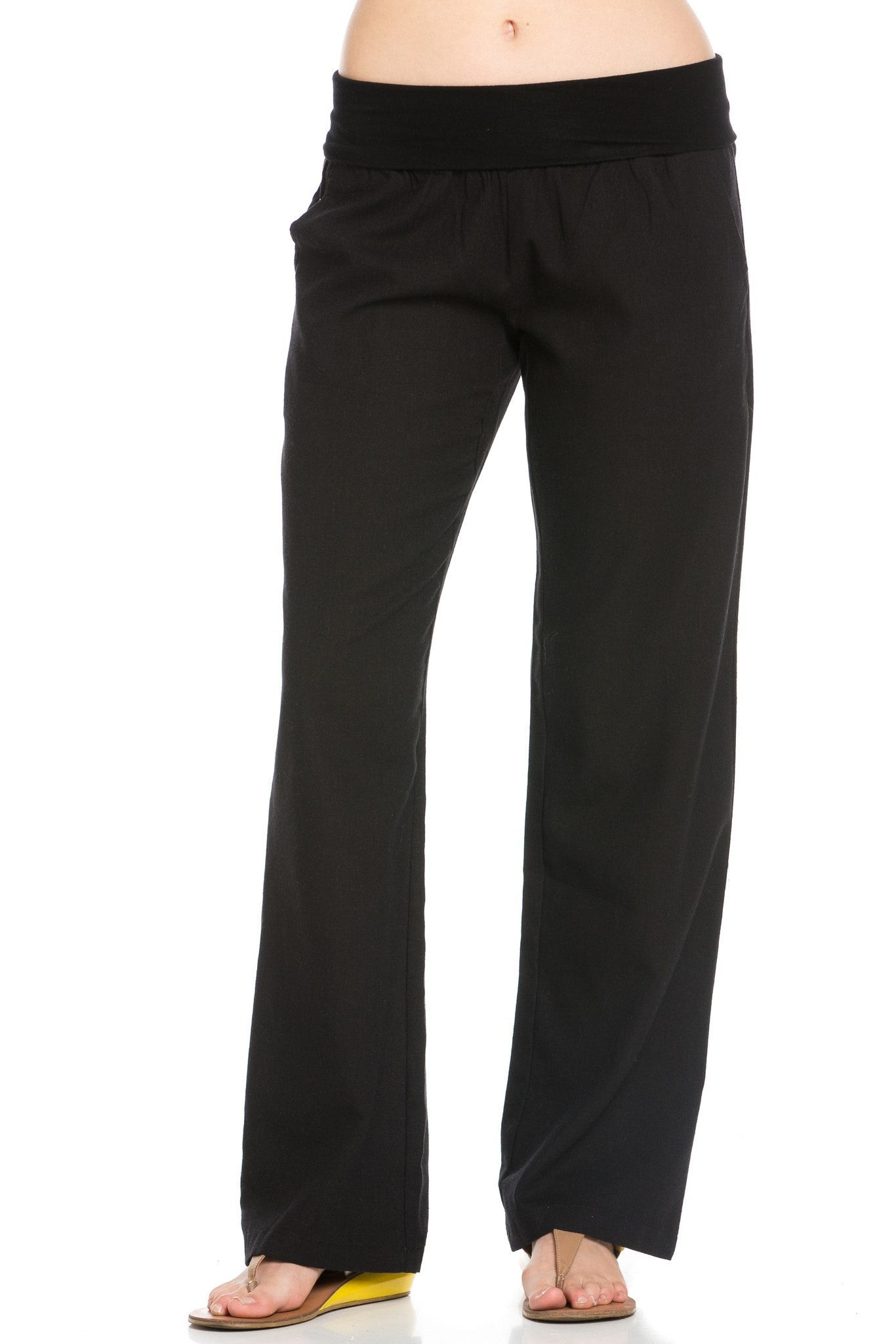 Comfy Fold Over Linen Pants (Black) - Poplooks