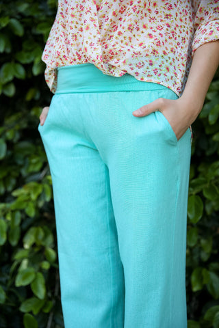 Mint Fold Over Linen Pants