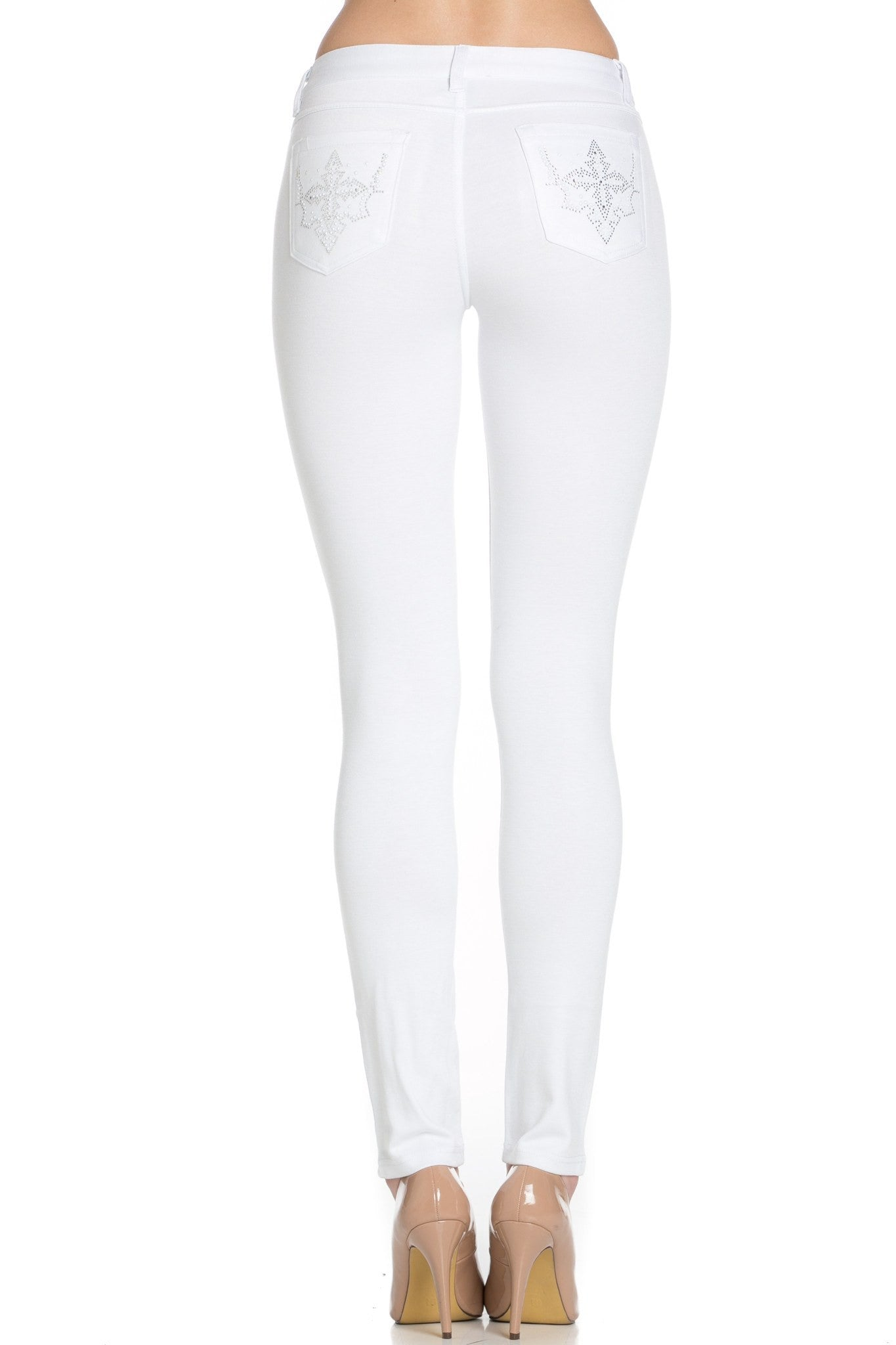 Embellished Ponte Knit Jegging Pants (Star) - Poplooks