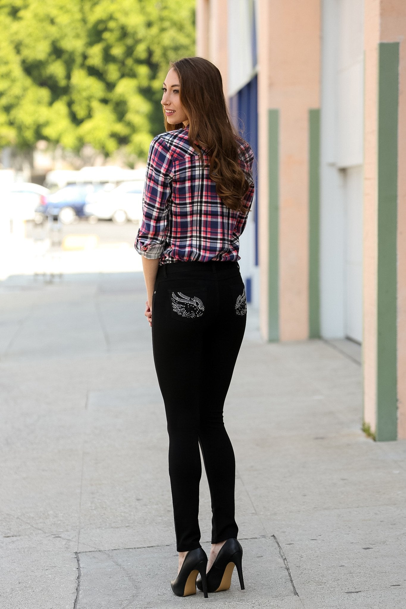 Embellished Ponte Knit Jegging Pants (Black Wings) - Poplooks