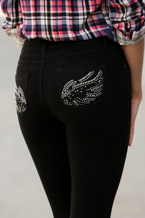 Embellished Ponte Knit Jegging Pants (Heather Charcoal Wings)