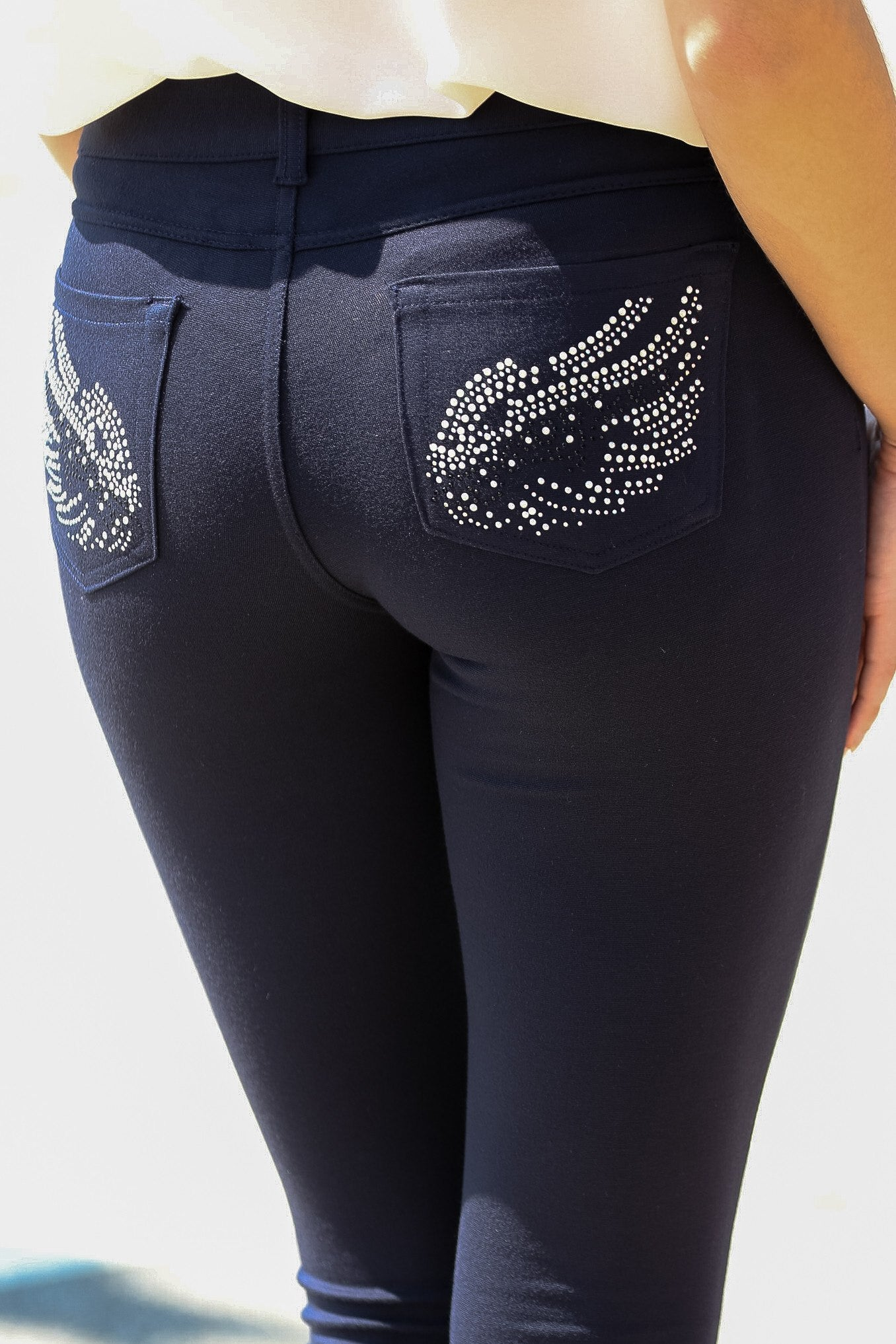 Embellished Ponte Knit Jegging Pants (Navy Wings) - Poplooks