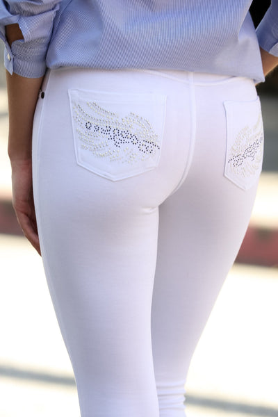 Embellished Ponte Knit Jegging Pants (White Wings) - Poplooks