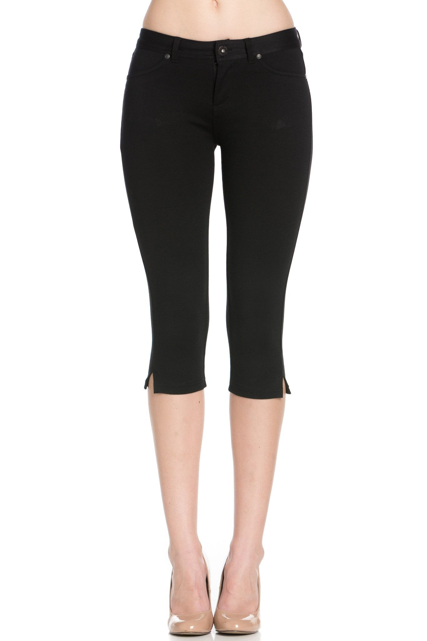 4 Way Stretchy Ponte Knit Capri Skinny Jeans (Black) - Poplooks