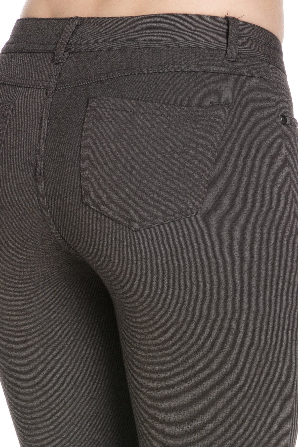 4 Way Stretchy Ponte Knit Capri Skinny Jeans (Charcoal) - Poplooks