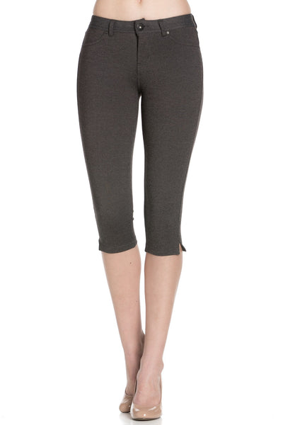Charcoal Ponte Capri Pants - Poplooks