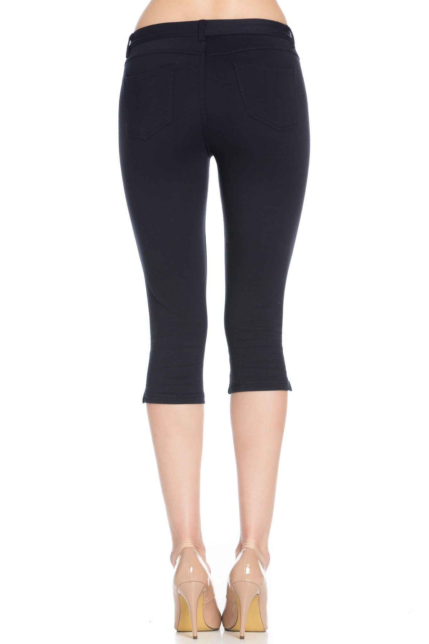 4 Way Stretchy Ponte Knit Capri Skinny Jeans (Navy) - Poplooks