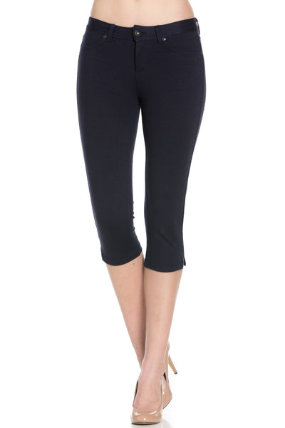 Navy Ponte Capri Pants - Poplooks