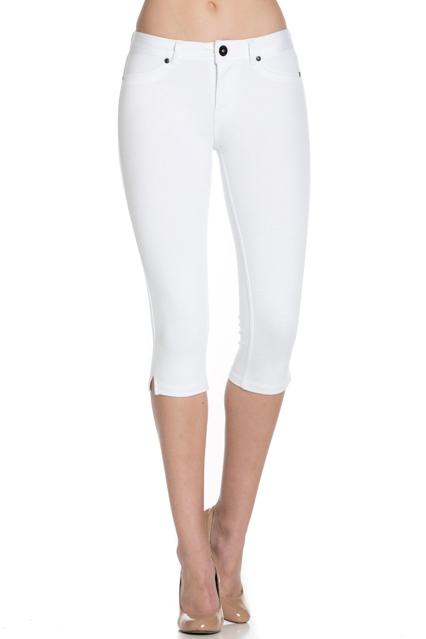 4 Way Stretchy Ponte Knit Capri Skinny Jeans (White) - Poplooks
