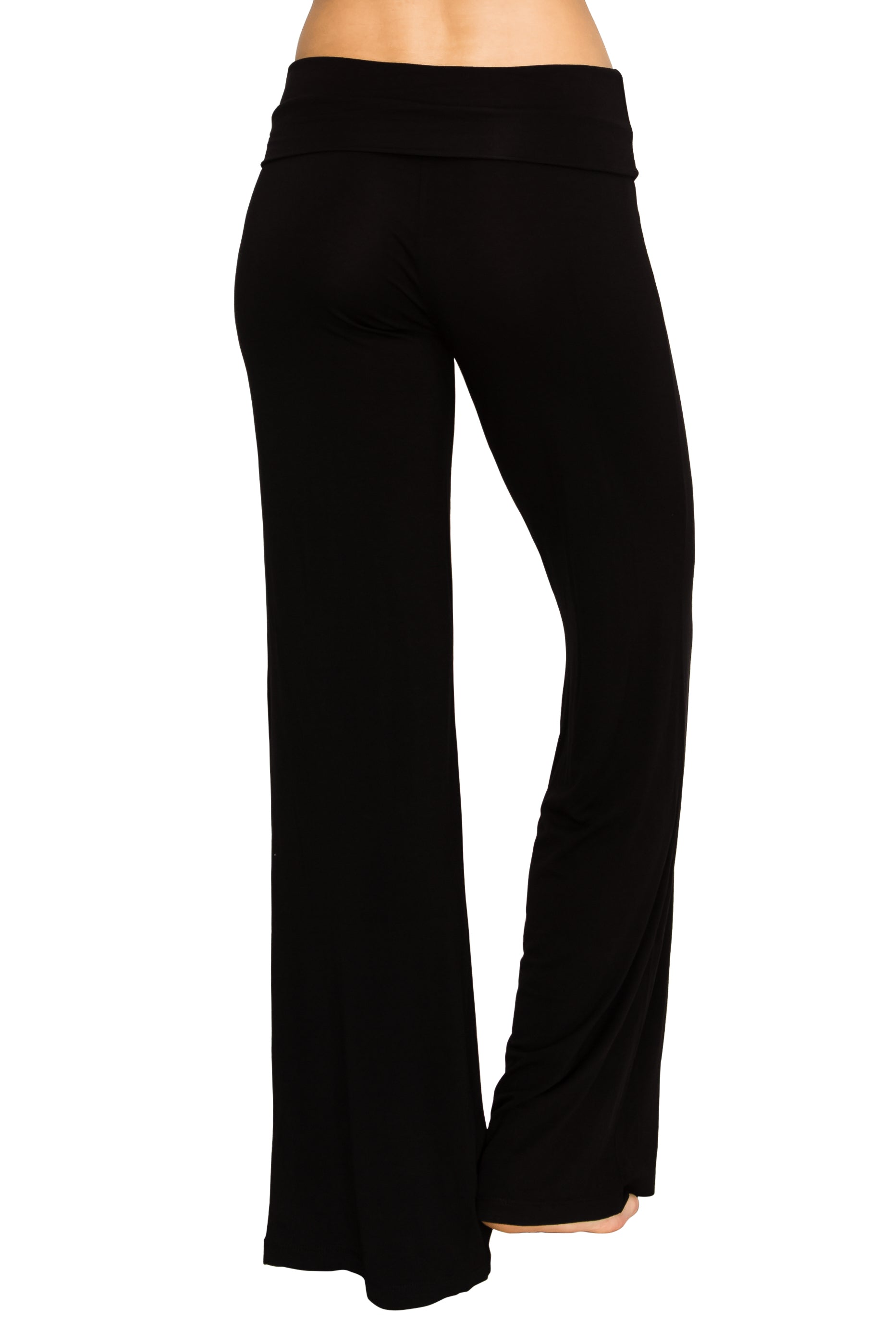 Black Foldover Yoga Pants - Poplooks