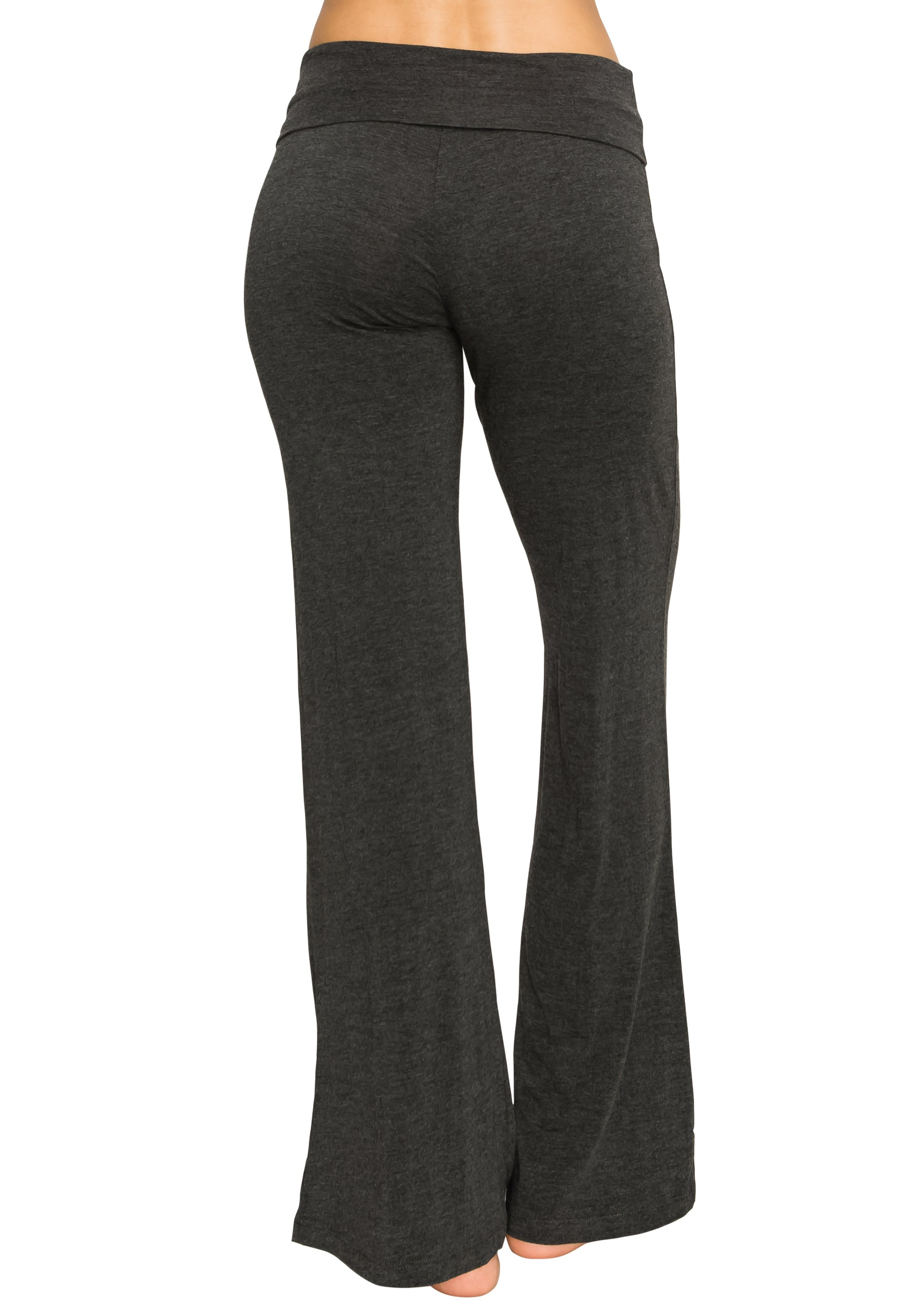 H. Charcoal Foldover Yoga Pants - Poplooks