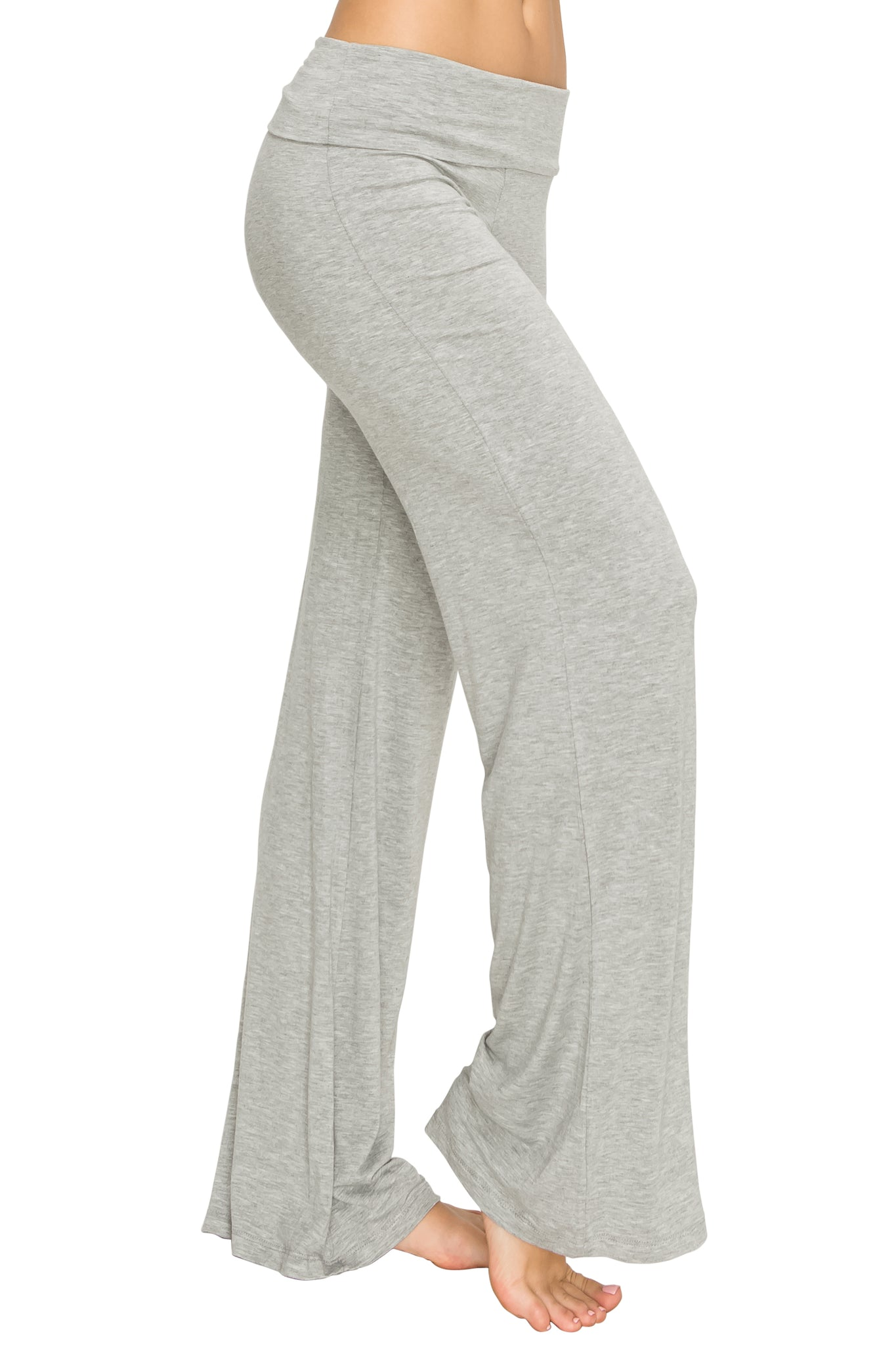 Gray Foldover Yoga Pants - Poplooks