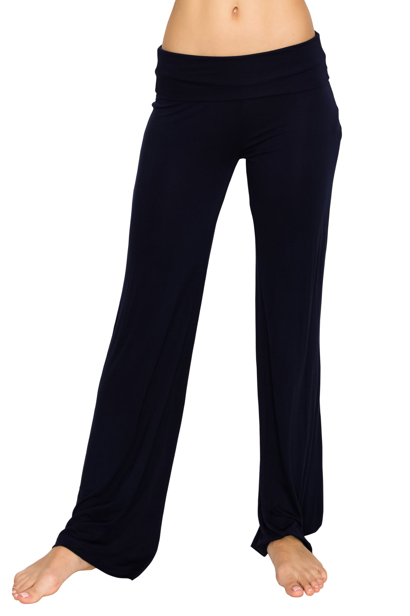 Navy Foldover Yoga Pants - Poplooks
